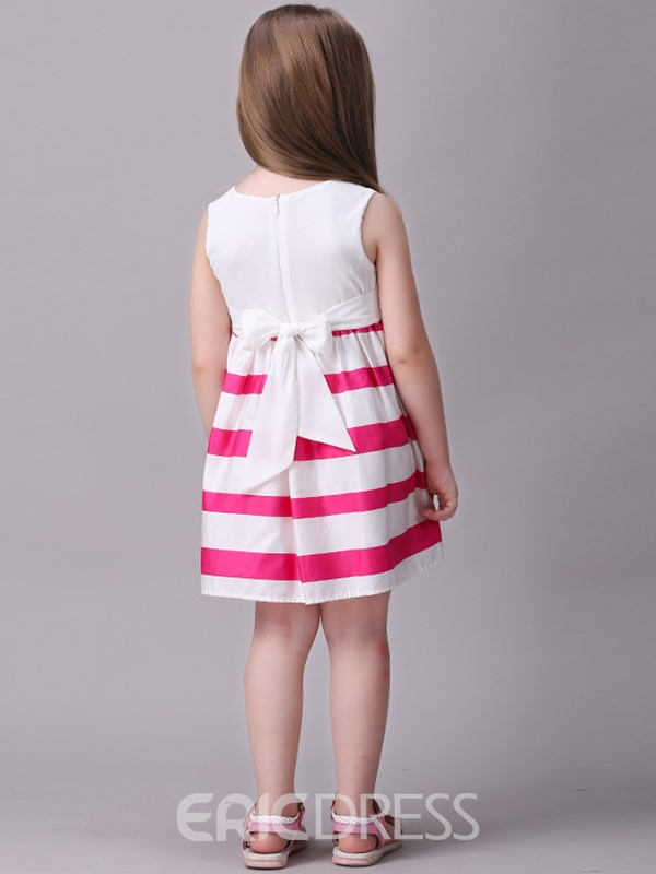 Ericdress Strips Patchwork Bowknot Pleated Girls Dress