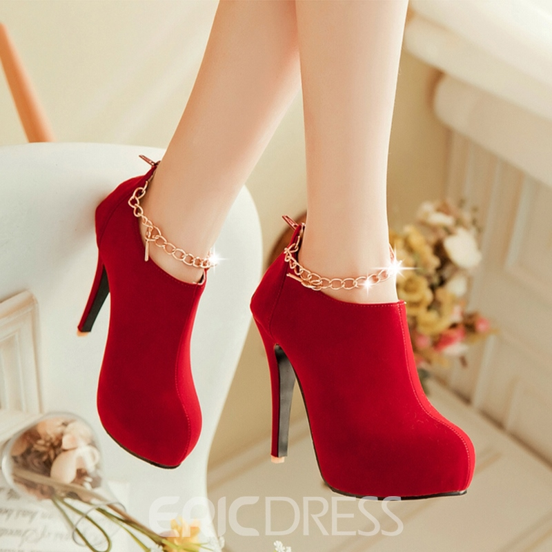 Ericdress Metal Chain Round Toe High Heel Boots