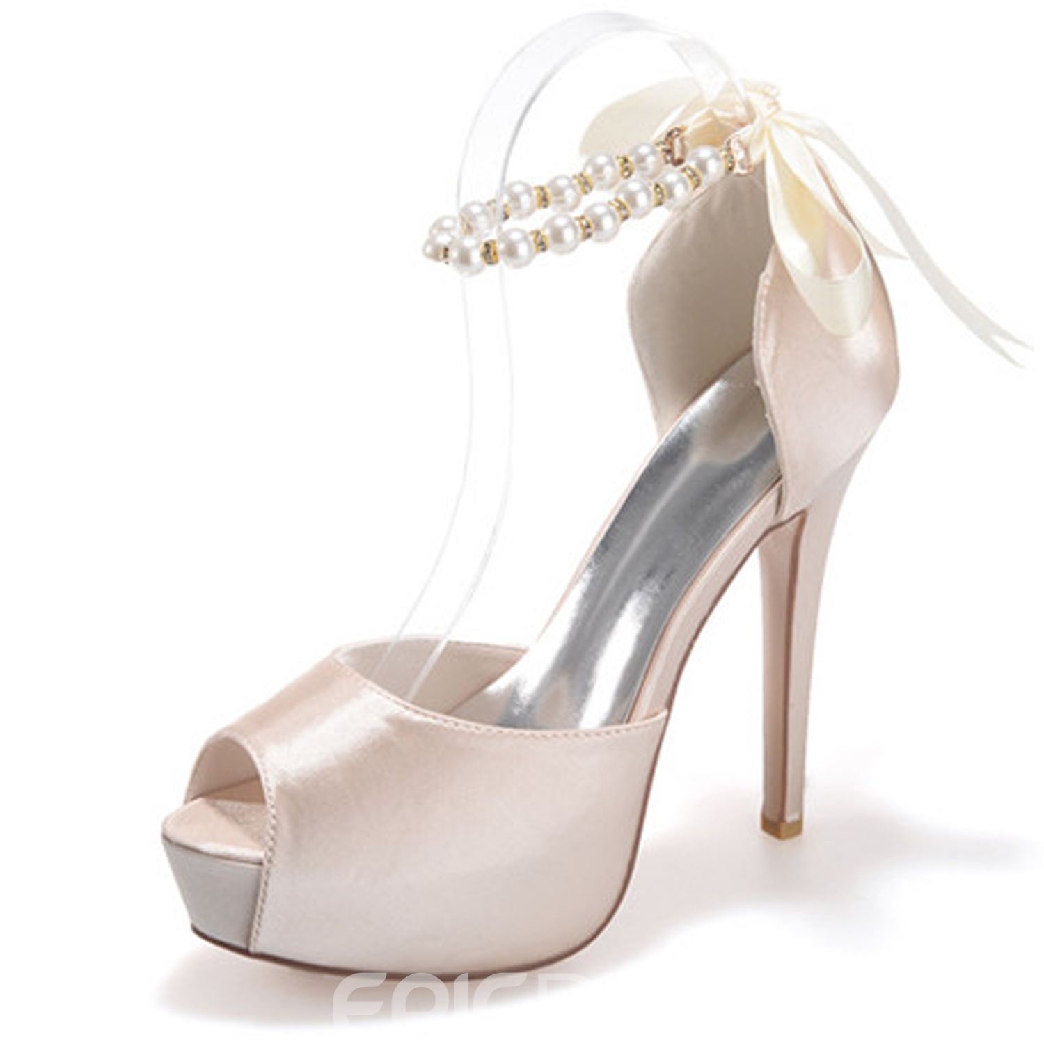 Ericdress Comfortable Pearls Peep Toe High Heel Wedding Shoes