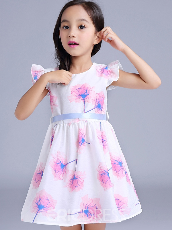 Ericdress print Falbala Lace-Up Girls Dress