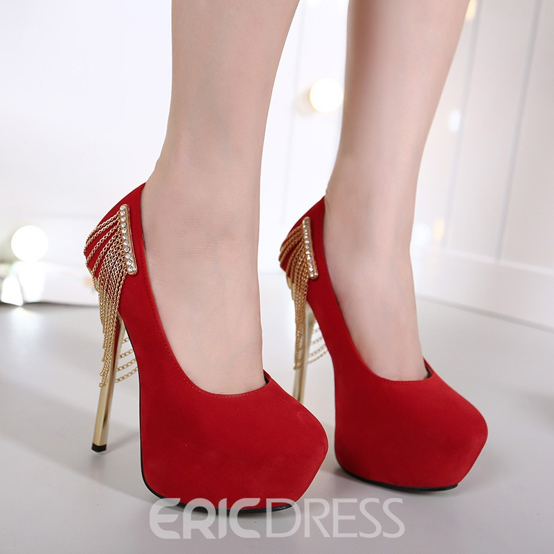 Ericdress Suede Platform Metal Chain Tassels Pumps