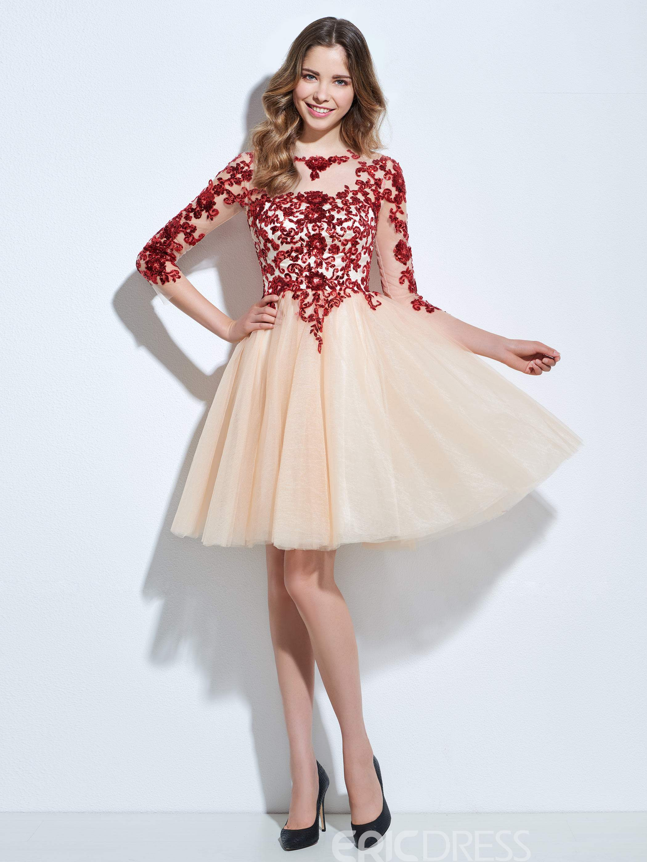 Ericdress A-Line 3/4 Sleeves Cocktail Dress In Knee-Length With Appliques And Sequins