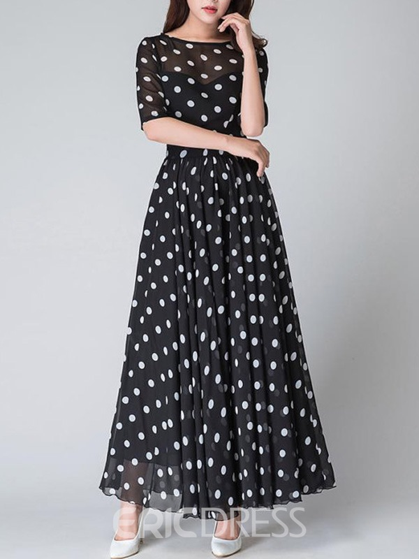 Ericdress Polka Dots Half Sleeve Round Neck Expansion Maxi Dress