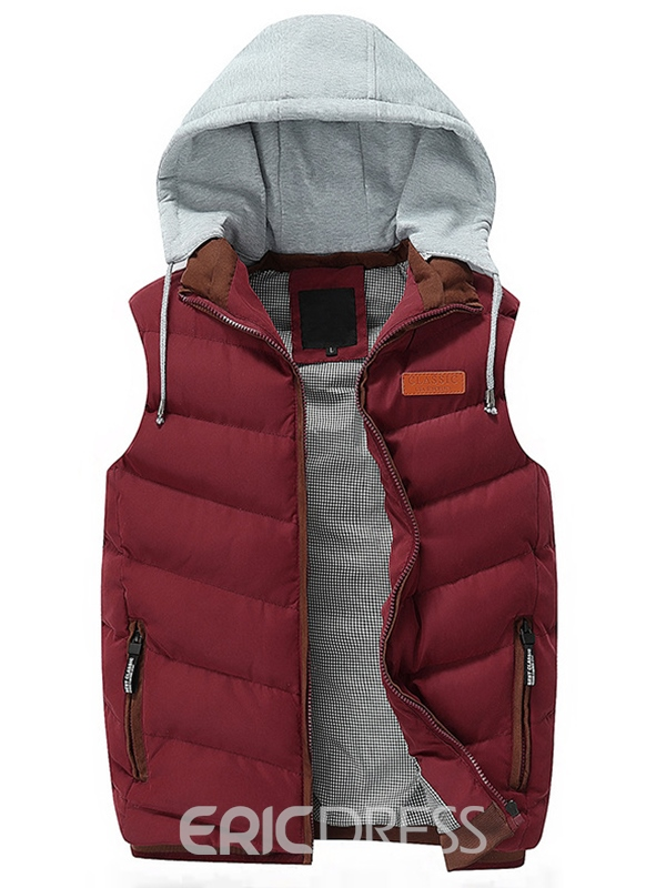 Ericdress Zip Thicken Warm Men's Vest with Hood