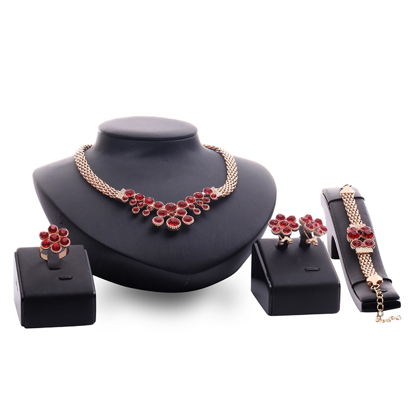 Ericdress Ruby Inlaid Alloy Flower Jewelry Set
