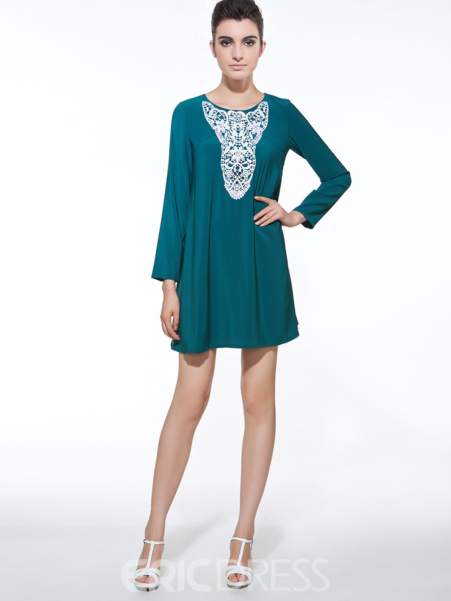 Ericdress Short Round Neck Long Sleeve Casual Dress