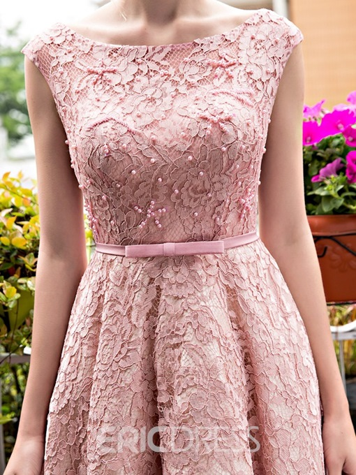 Ericdress A-Line Bateau Lace Pearls Tea-Length Prom Dress