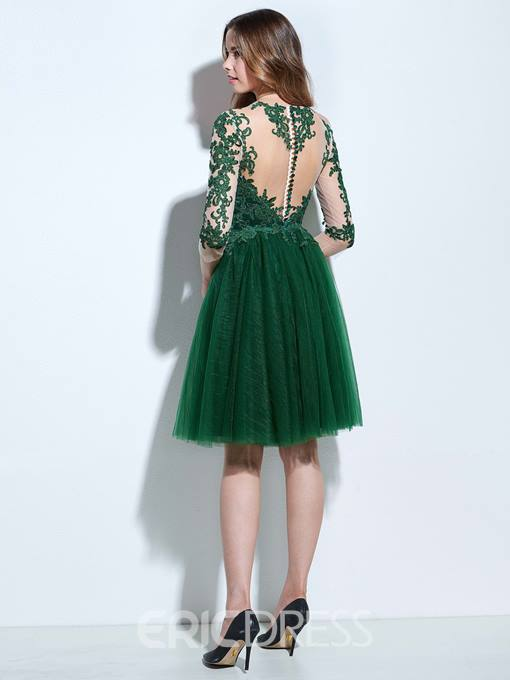 Ericdress A-Line Scoop 3/4 Length Sleeves Appliques Button Knee-Length Cocktail Dress