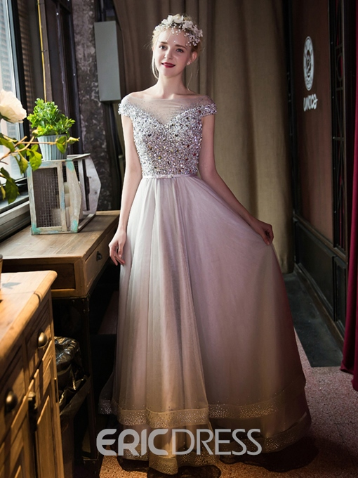 Ericdress A-Line Off-the-Shoulder Beaded Crystal Evening Dress With Cap Sleeves