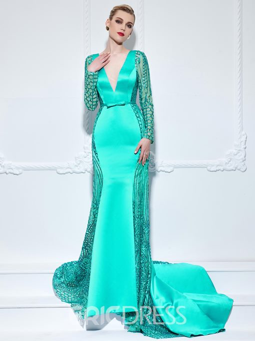 Ericdress Long Sleeves Bowknot Hollow Sequins Evening Dress