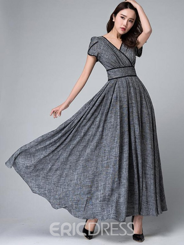 Ericdress Solid Color Patchwork Expansion V-Neck Maxi Dress
