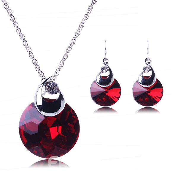 Ericdress Graceful Round Crystal Pendant Jewelry Set