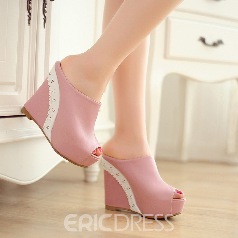 Ericdress Princess Purfle Peep-Toe Wedge Mules Shoes