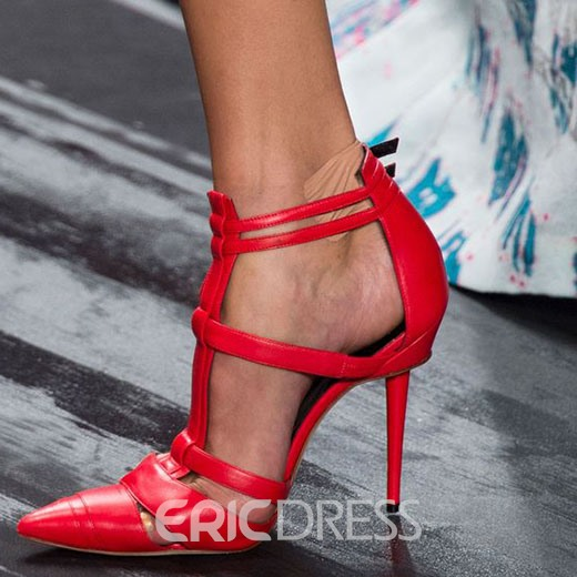 Ericdress Chic Red Cut Out Point Toe Stiletto Sandals