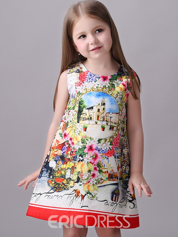 Ericdress Print Zipper Sleeveless Girls Dress