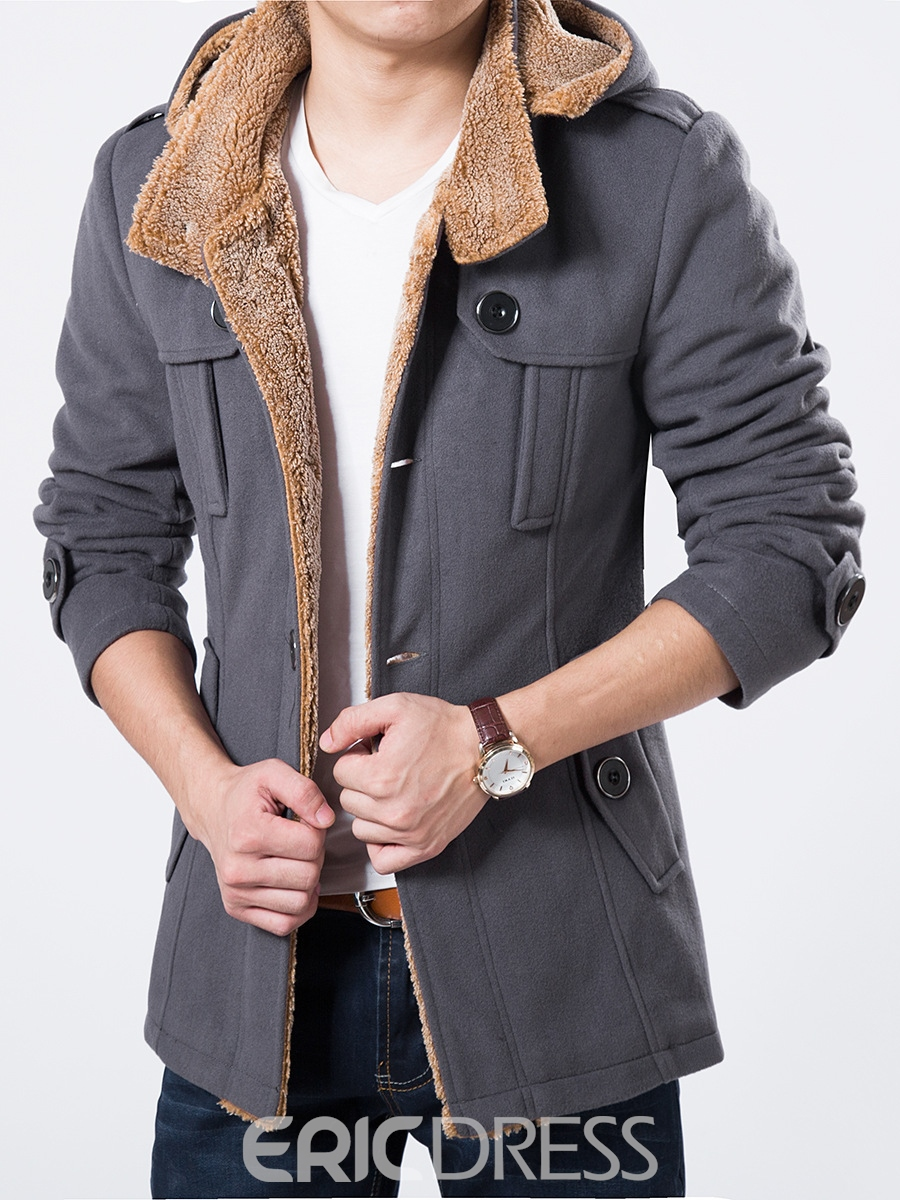 Ericdress Single-Breasted Thicken Warm Men's Winter Coat