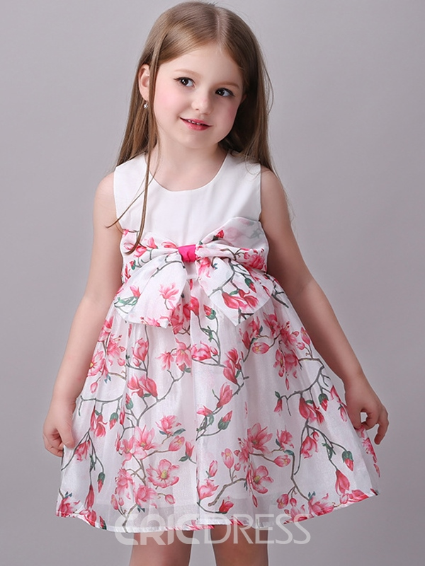 Ericdress Floral Pleated Bowknot Girls Dress