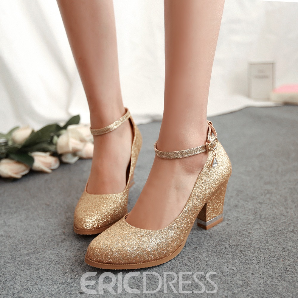 Ericdress Plain Buckle Round Toe Chunky Heel Pumps