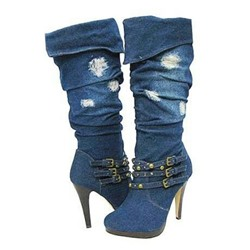 Ericdress Denim Blue Knee High Boots with