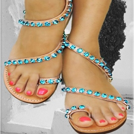 Ericdress Bright Rhinestone Toe Ring Flat Sandals