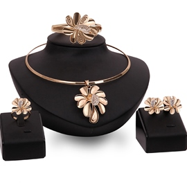 Ericdress Golden Flowers Diamante Jewelry Set