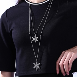 Ericdress Double Layers Snowflake Pendant Necklace