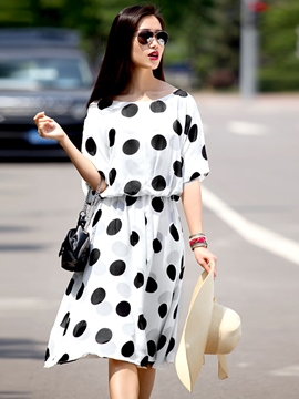Ericdress Half Sleeve Round Neck Loose Casual Dress