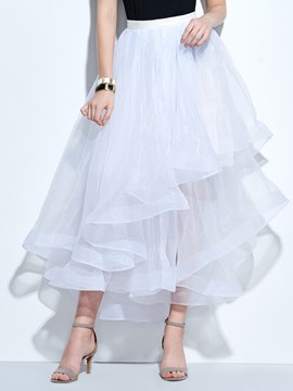 Ericdress Plain Mesh Asymmetric Maxi Skirt