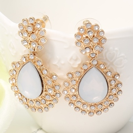 Ericdress White Gemstone Inlaid Alloy Earrings
