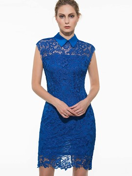 Ericdress Peter Pan Collar Lace Dress