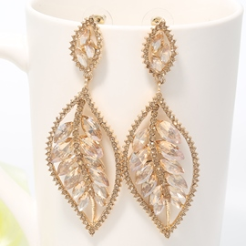 Ericdress Golden Leaf Diamante Earrings