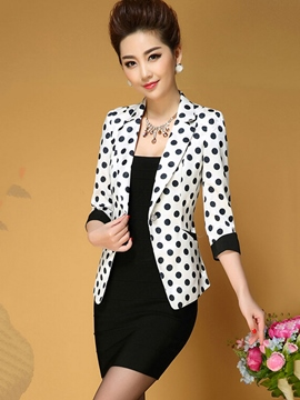 Ericdress Color Block Polka Dots Blazer