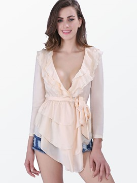 Ericdress Slim Asymmetric Frill Blouse