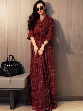 Ericdress Autumn Plaid Floor-Length Maxi Dress