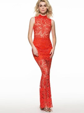 Ericdress Red Long Sheath Lace Dress