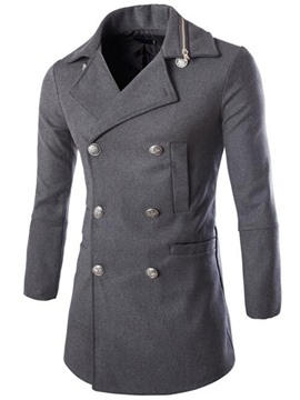 Ericdress Plain Double-Breasted Zip Patchwork Casual Men's Woolen Coat