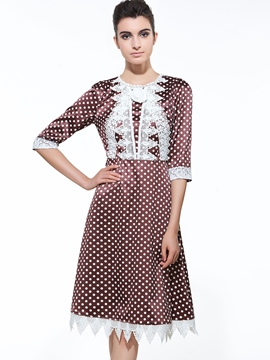 Ericdress Polka Dots Lace Patchwork Casual Dress
