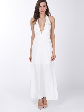 Ericdress Plain Deep V-Neck Backless Maxi Dress