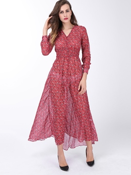 Ericdress Print V-Neck Split Short Sleeve Maxi Dress