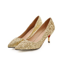 Ericdress Sequins Point Toe Low Heel Pumps