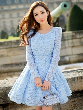 Ericdress Solid Color A-Line Long Sleeve Lace Dress