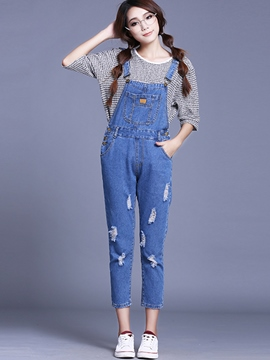 Ericdress Simple Ripped Denim Suspender Pants
