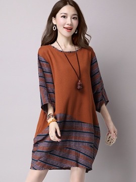 Ericdress Stripe Patchwork Three-Quarter Sleeve Casual Dress