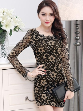 Ericdress Round Neck Long Sleeve Lace Dress