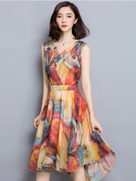 Ericdress Summer V-Neck Sleeveless Print Casual A-Line Dress