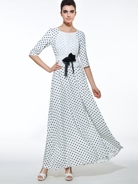 Ericdress Polka Dots Lace Patchwork Maxi Dress