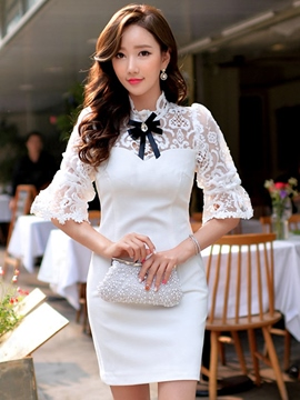 Ericdress White Lace Patchwork Bodycon Dress