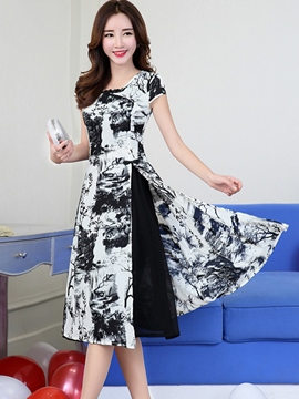 Ericdress Summer Short Sleeve Print Split A Line Dress