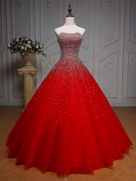 Ericdress Beaded Sweetheart Ball Gown Red Wedding Dress
