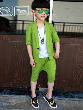 Ericdress Patchwork Half Sleeve Coat Pants Boy's Casual Outfits